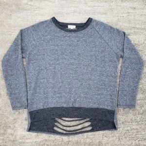 Boutique charcoal shreddedback sweatshirt pullover